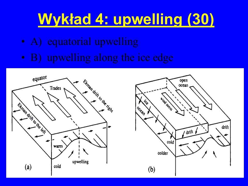 Wykład 4: upwelling (30) A) equatorial upwelling
