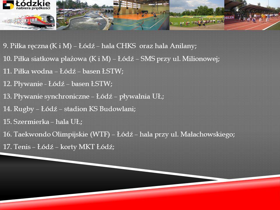 9. Piłka ręczna (K i M) – Łódź – hala CHKS oraz hala Anilany; 10