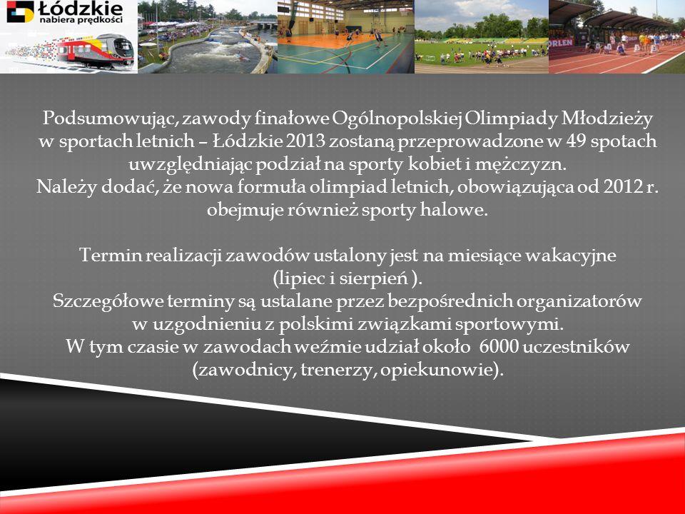 Podsumowując, zawody finałowe Ogólnopolskiej Olimpiady Młodzieży w sportach letnich – Łódzkie 2013 zostaną przeprowadzone w 49 spotach uwzględniając podział na sporty kobiet i mężczyzn.