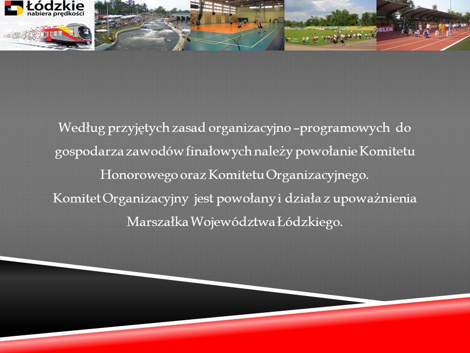 Według przyjętych zasad organizacyjno –programowych do gospodarza zawodów finałowych należy powołanie Komitetu Honorowego oraz Komitetu Organizacyjnego.