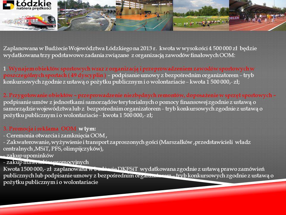 Zaplanowana w Budżecie Województwa Łódzkiego na 2013 r