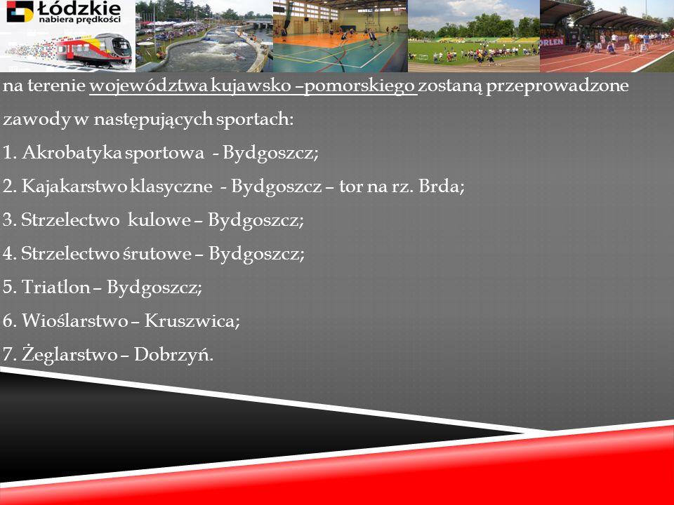 na terenie województwa kujawsko –pomorskiego zostaną przeprowadzone zawody w następujących sportach: 1.