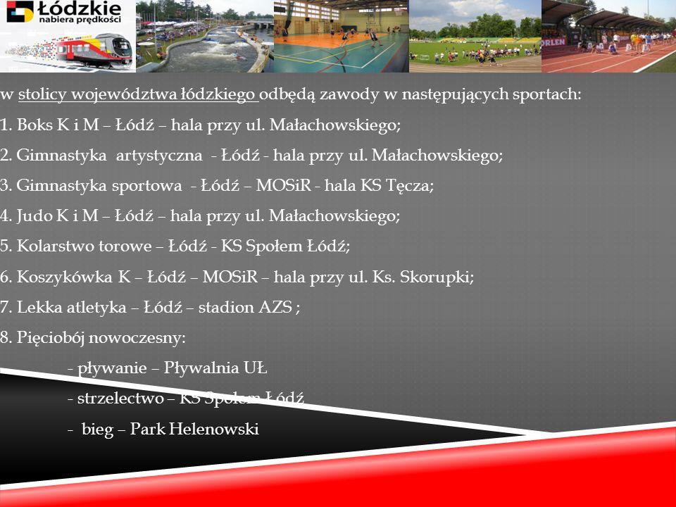 w stolicy województwa łódzkiego odbędą zawody w następujących sportach: 1.