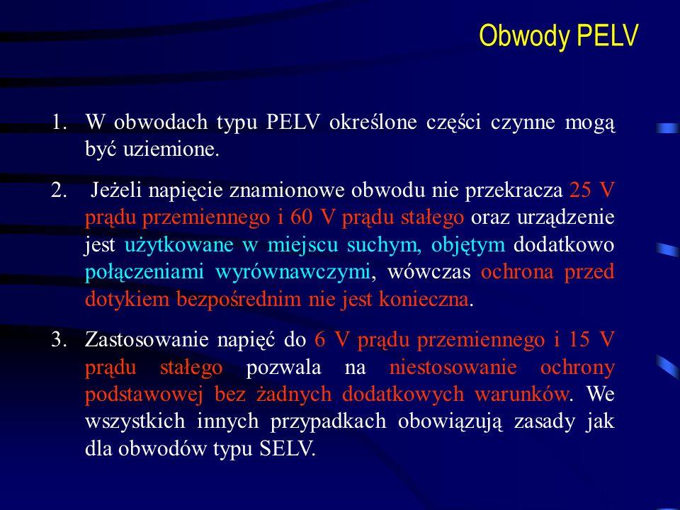 Obwody PELVW obwodach typu PELV określone części czynne mogą być uziemione.