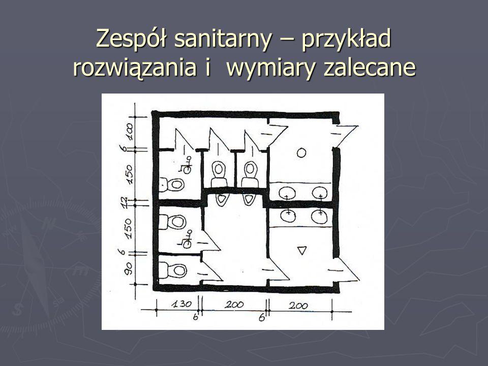 Zespół sanitarny – przykład rozwiązania i wymiary zalecane