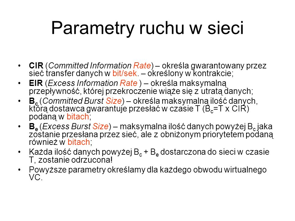 Parametry ruchu w sieci