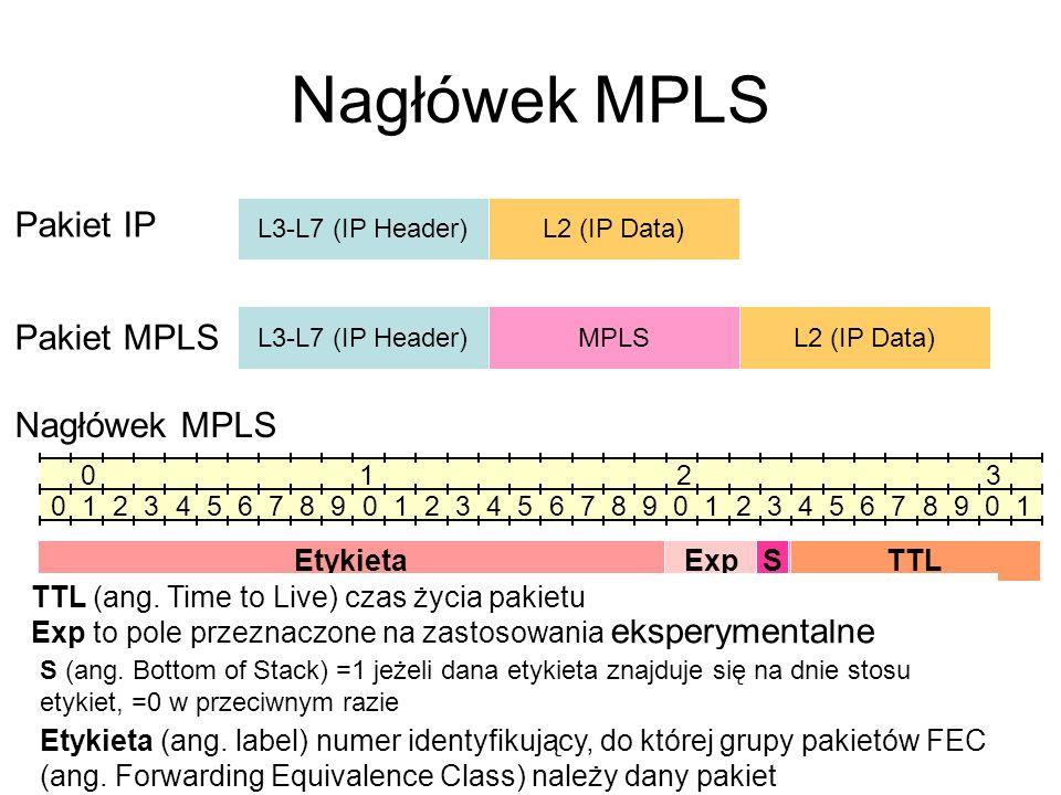 Nagłówek MPLS Pakiet IP Pakiet MPLS Nagłówek MPLS Etykieta Exp S TTL