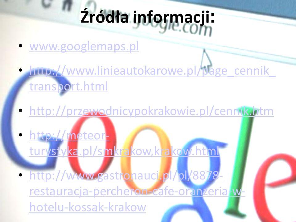Źródła informacji: www.googlemaps.pl