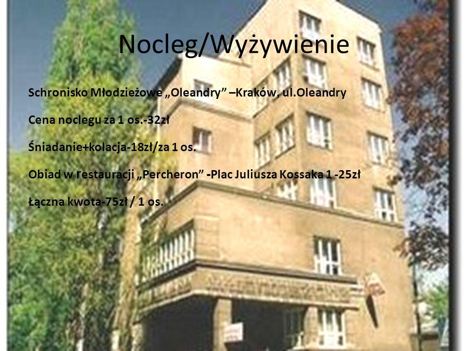 """Nocleg/Wyżywienie Schronisko Młodzieżowe """"Oleandry –Kraków, ul.Oleandry. Cena noclegu za 1 os.-32zł."""