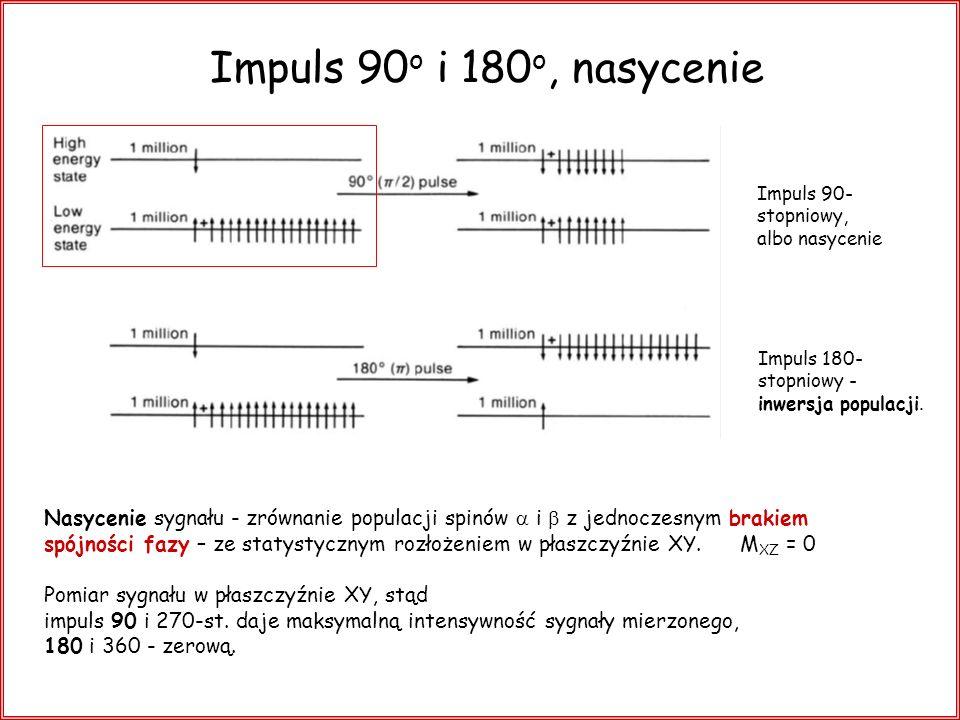 Impuls 90o i 180o, nasycenie Impuls 90- stopniowy, albo nasycenie. Impuls 180- stopniowy - inwersja populacji.