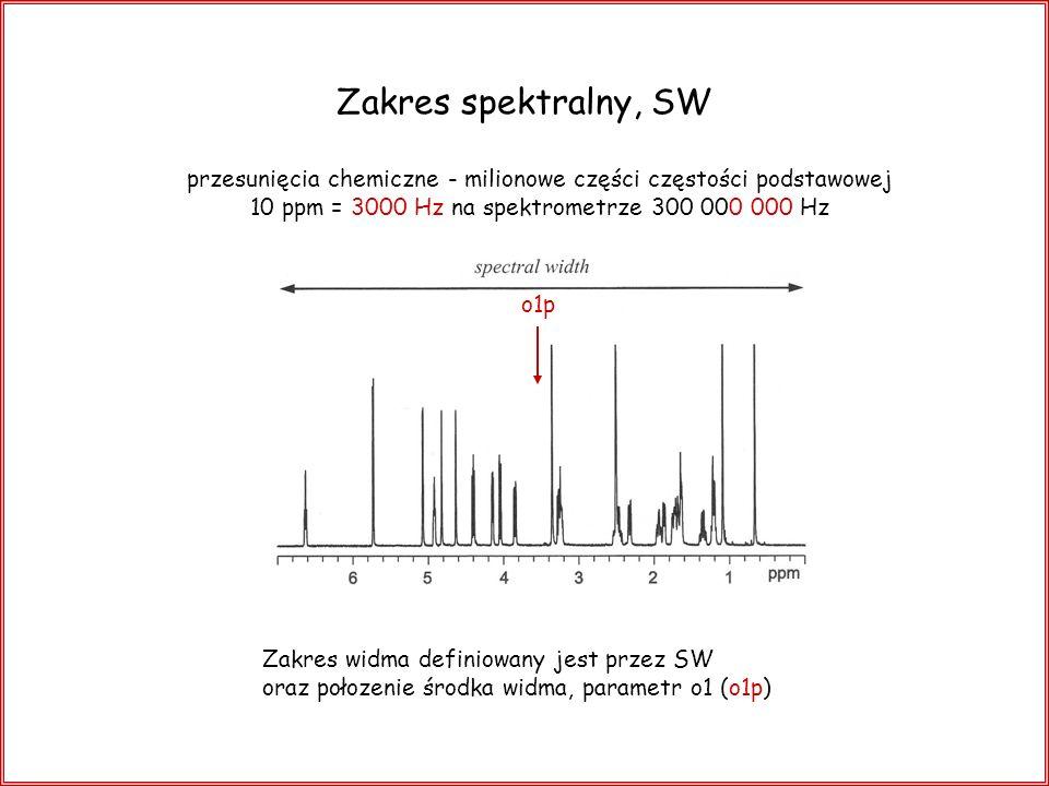 Zakres spektralny, SW przesunięcia chemiczne - milionowe części częstości podstawowej. 10 ppm = 3000 Hz na spektrometrze 300 000 000 Hz.