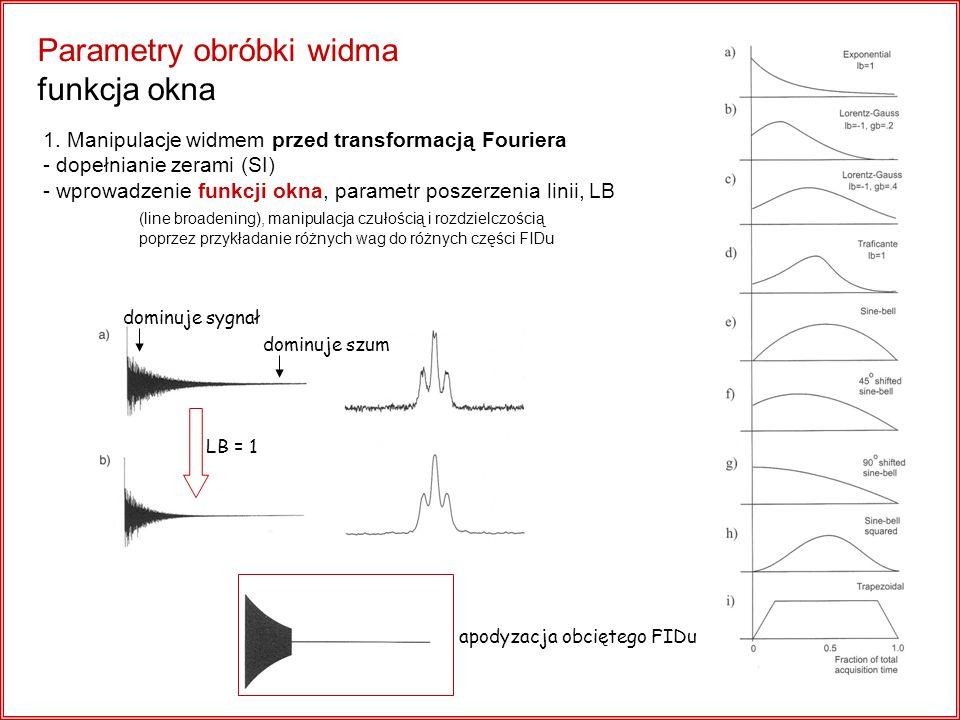 Parametry obróbki widma funkcja okna