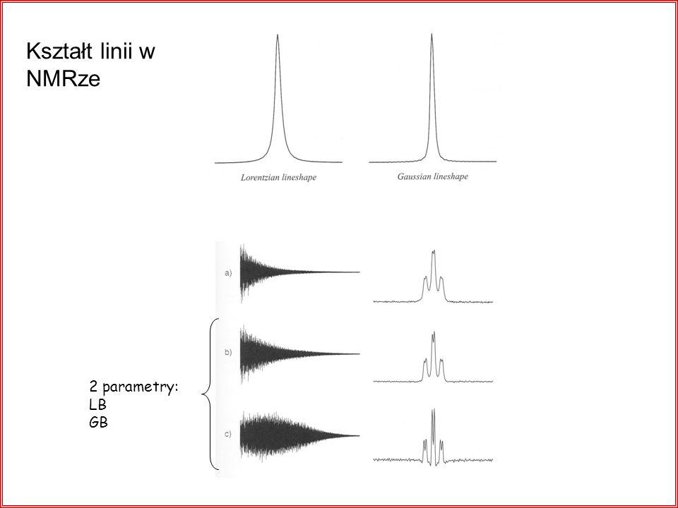 Kształt linii w NMRze 2 parametry: LB GB