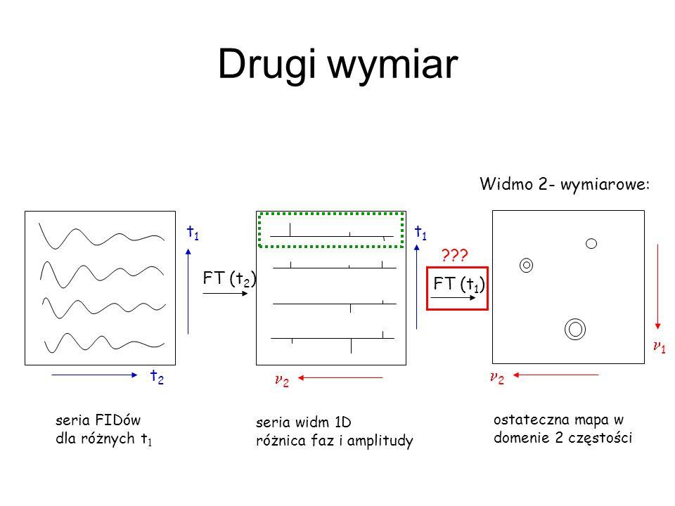 Drugi wymiar Widmo 2- wymiarowe: t1 t1 FT (t2) FT (t1) n1 t2 n2 n2