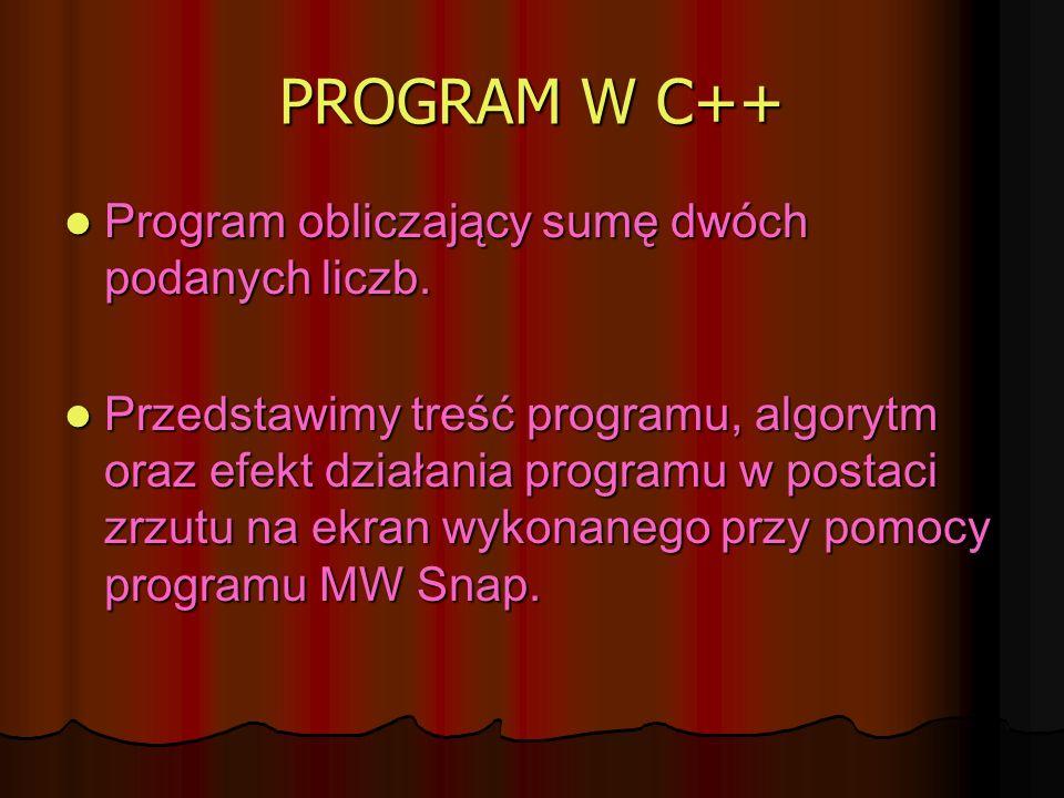 PROGRAM W C++ Program obliczający sumę dwóch podanych liczb.