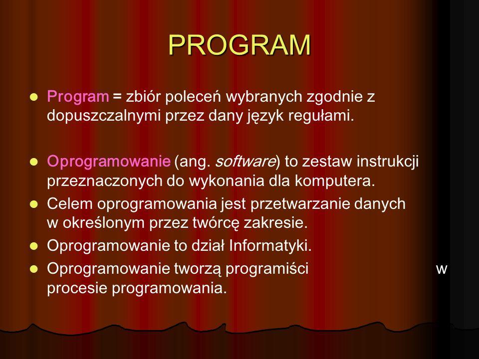 PROGRAM Program = zbiór poleceń wybranych zgodnie z dopuszczalnymi przez dany język regułami.
