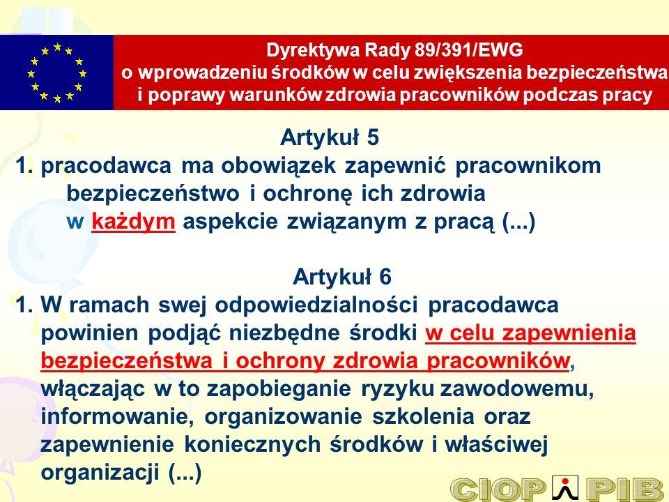 Dyrektywa Rady 89/391/EWG o wprowadzeniu środków w celu zwiększenia bezpieczeństwa i poprawy warunków zdrowia pracowników podczas pracy
