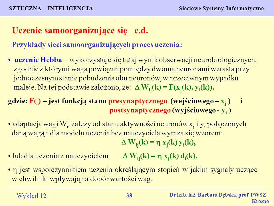 Uczenie samoorganizujące się c.d.