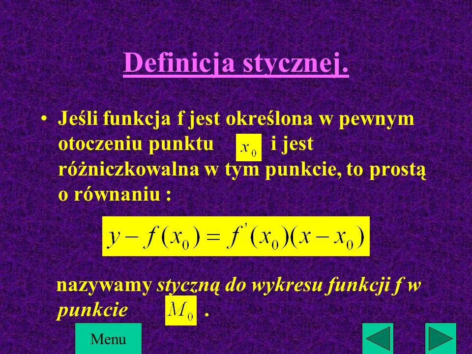 Definicja stycznej. Jeśli funkcja f jest określona w pewnym otoczeniu punktu i jest różniczkowalna w tym punkcie, to prostą o równaniu :