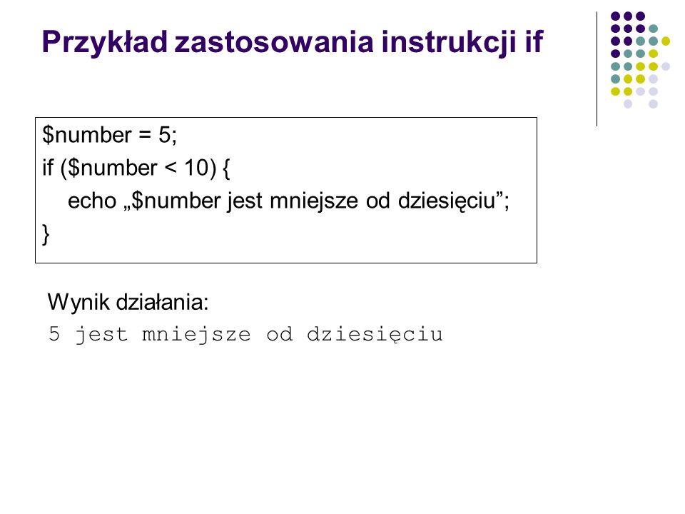 Przykład zastosowania instrukcji if