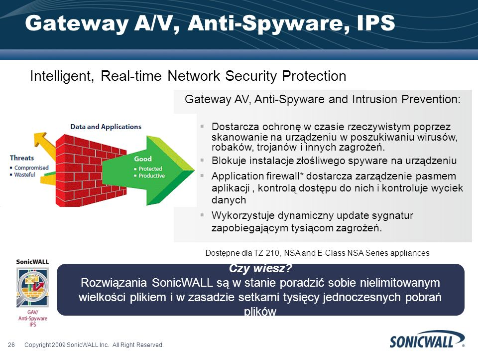 Gateway A/V, Anti-Spyware, IPS