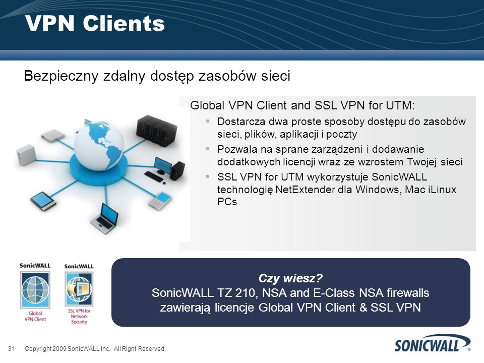 VPN Clients Bezpieczny zdalny dostęp zasobów sieci