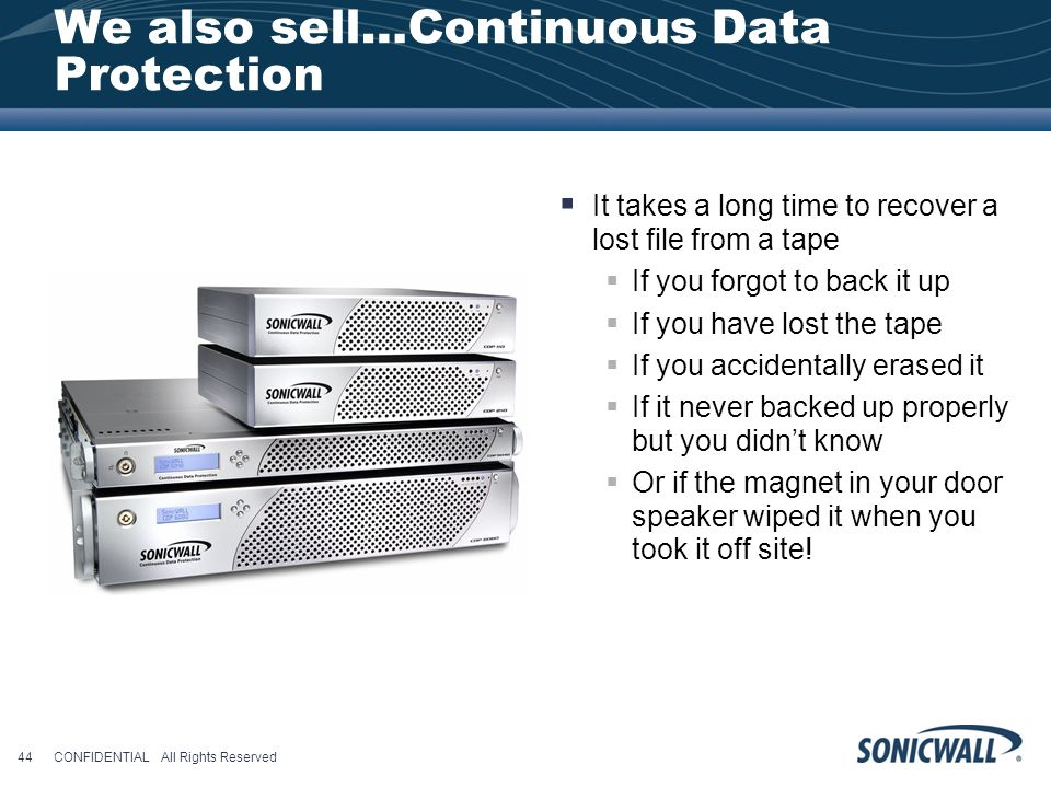 We also sell…Continuous Data Protection