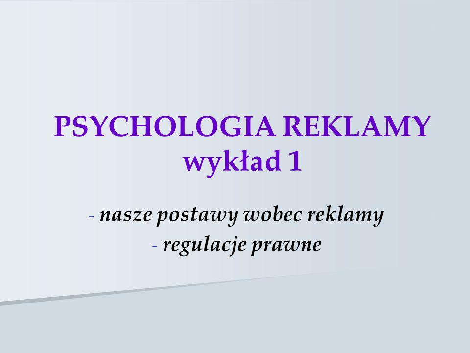 PSYCHOLOGIA REKLAMY wykład 1