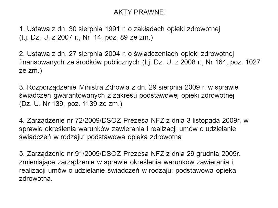 AKTY PRAWNE: 1. Ustawa z dn. 30 sierpnia 1991 r. o zakładach opieki zdrowotnej. (t.j. Dz. U. z 2007 r., Nr 14, poz. 89 ze zm.)