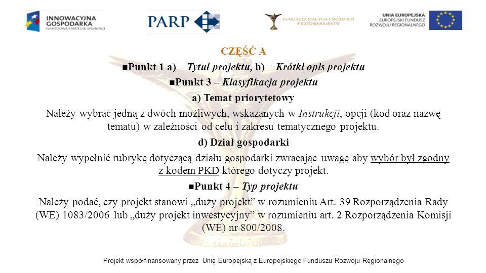 Punkt 1 a) – Tytuł projektu, b) – Krótki opis projektu