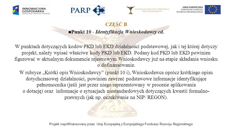 Punkt 10 - Identyfikacja Wnioskodawcy cd.