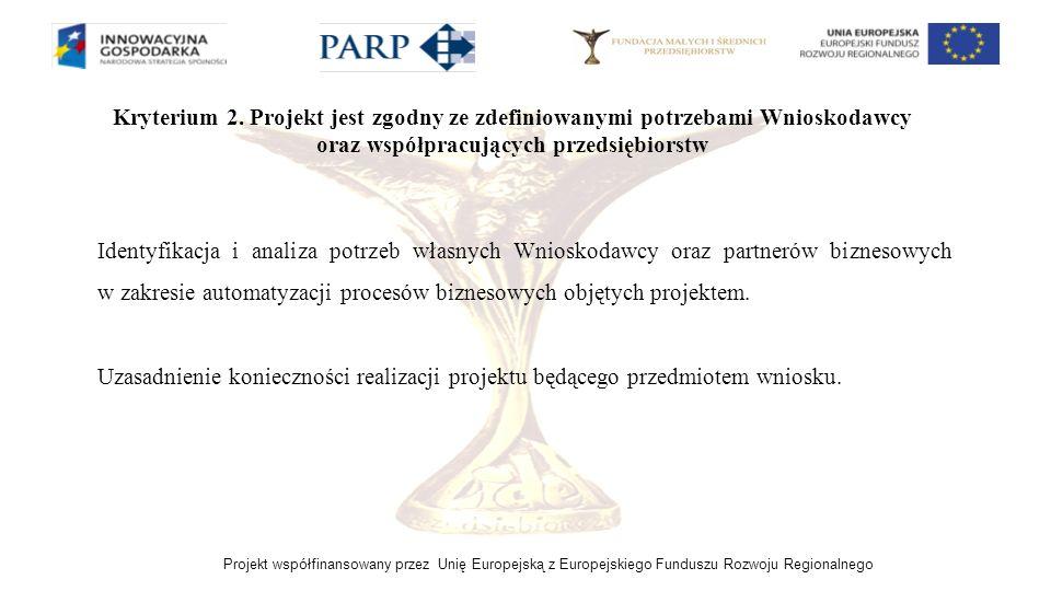 Kryterium 2. Projekt jest zgodny ze zdefiniowanymi potrzebami Wnioskodawcy oraz współpracujących przedsiębiorstw