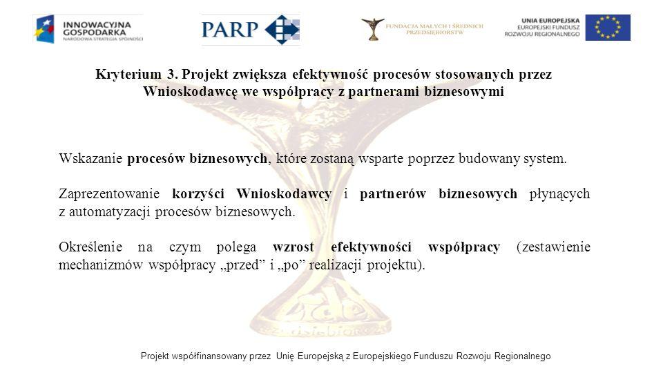 Kryterium 3. Projekt zwiększa efektywność procesów stosowanych przez Wnioskodawcę we współpracy z partnerami biznesowymi