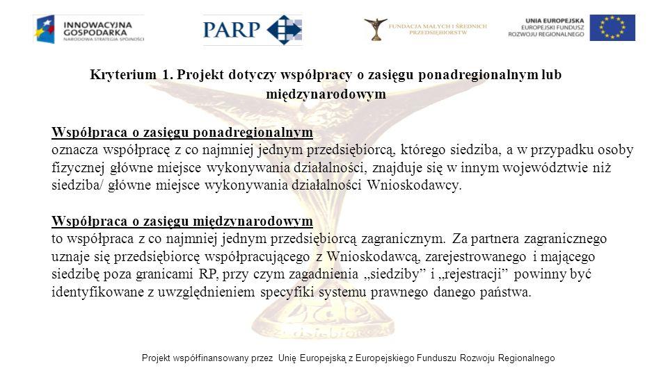 Kryterium 1. Projekt dotyczy współpracy o zasięgu ponadregionalnym lub międzynarodowym