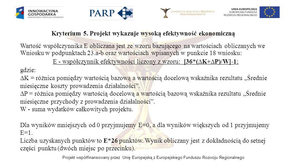 Kryterium 5. Projekt wykazuje wysoką efektywność ekonomiczną
