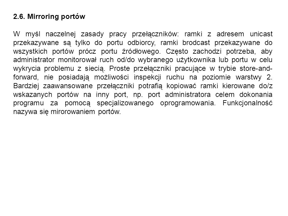 2.6. Mirroring portów