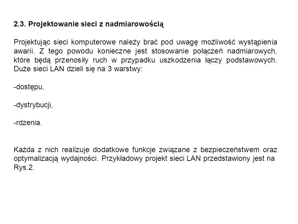 2.3. Projektowanie sieci z nadmiarowością