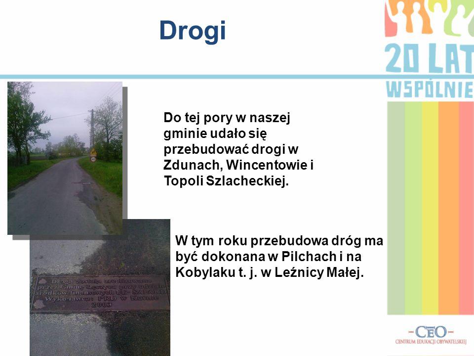 Drogi Do tej pory w naszej gminie udało się przebudować drogi w Zdunach, Wincentowie i Topoli Szlacheckiej.