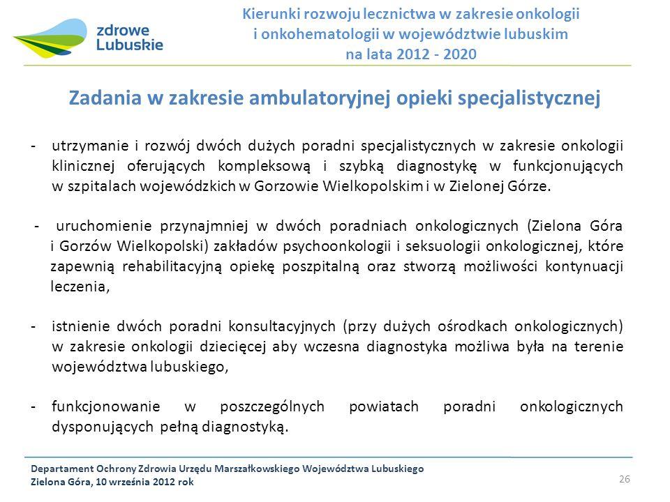 Zadania w zakresie ambulatoryjnej opieki specjalistycznej