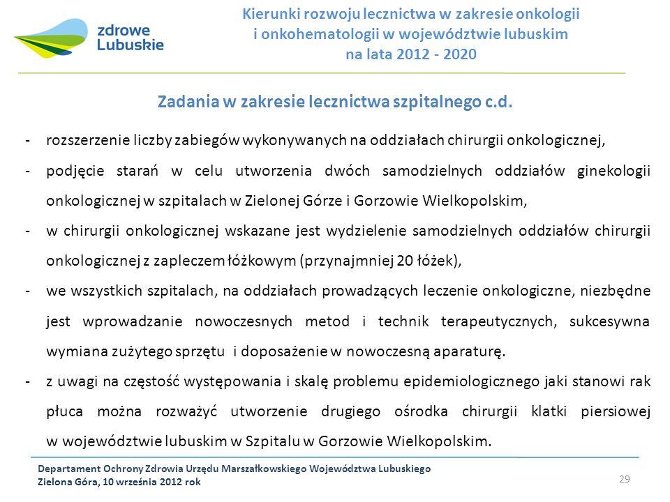 Zadania w zakresie lecznictwa szpitalnego c.d.