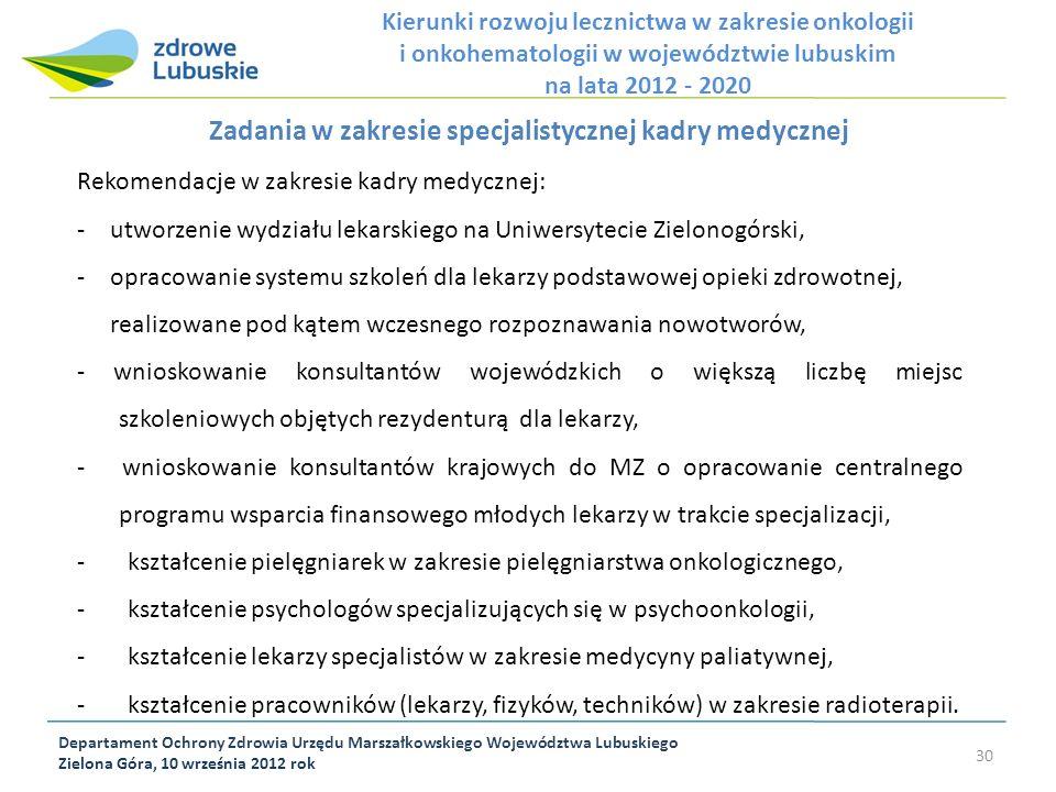 Zadania w zakresie specjalistycznej kadry medycznej