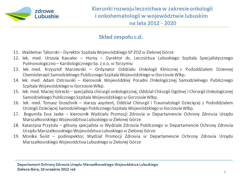 Skład zespołu c.d. Kierunki rozwoju lecznictwa w zakresie onkologii