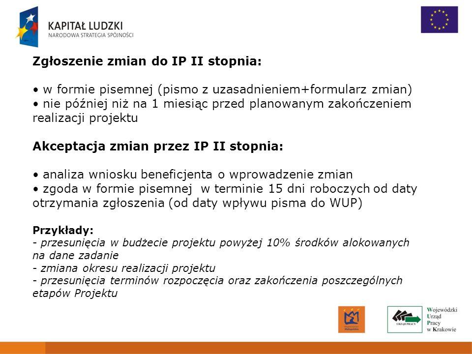 Zgłoszenie zmian do IP II stopnia: