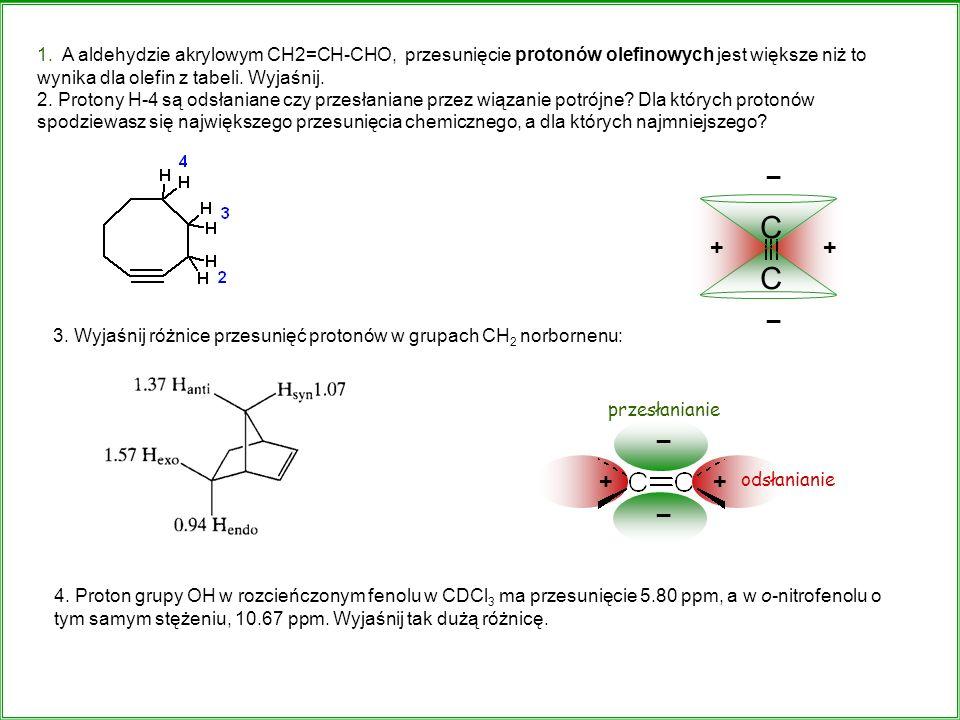 1. A aldehydzie akrylowym CH2=CH-CHO, przesunięcie protonów olefinowych jest większe niż to wynika dla olefin z tabeli. Wyjaśnij.