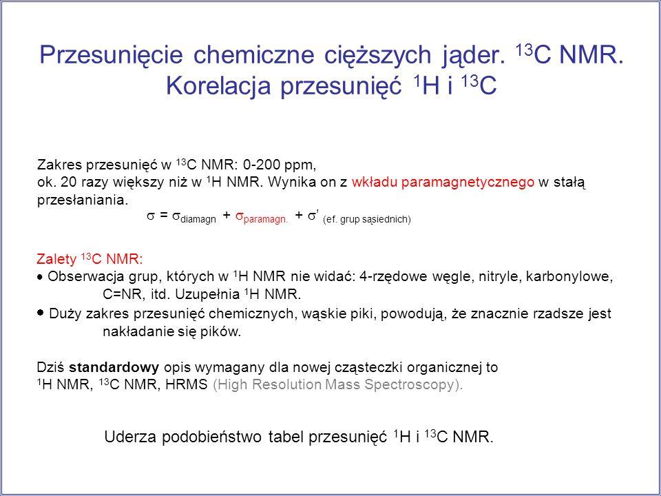 Przesunięcie chemiczne cięższych jąder. 13C NMR