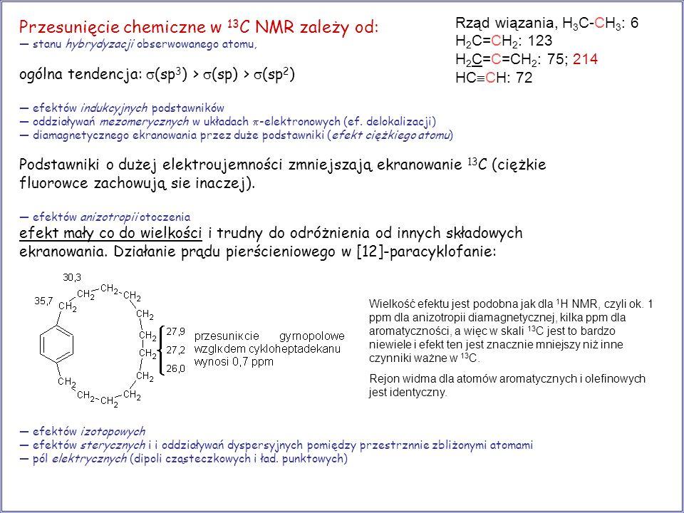 Przesunięcie chemiczne w 13C NMR zależy od: