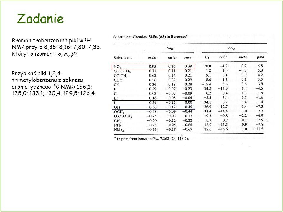 Zadanie Bromonitrobenzen ma piki w 1H NMR przy d 8,38; 8,16; 7,80; 7,36. Który to izomer - o, m, p