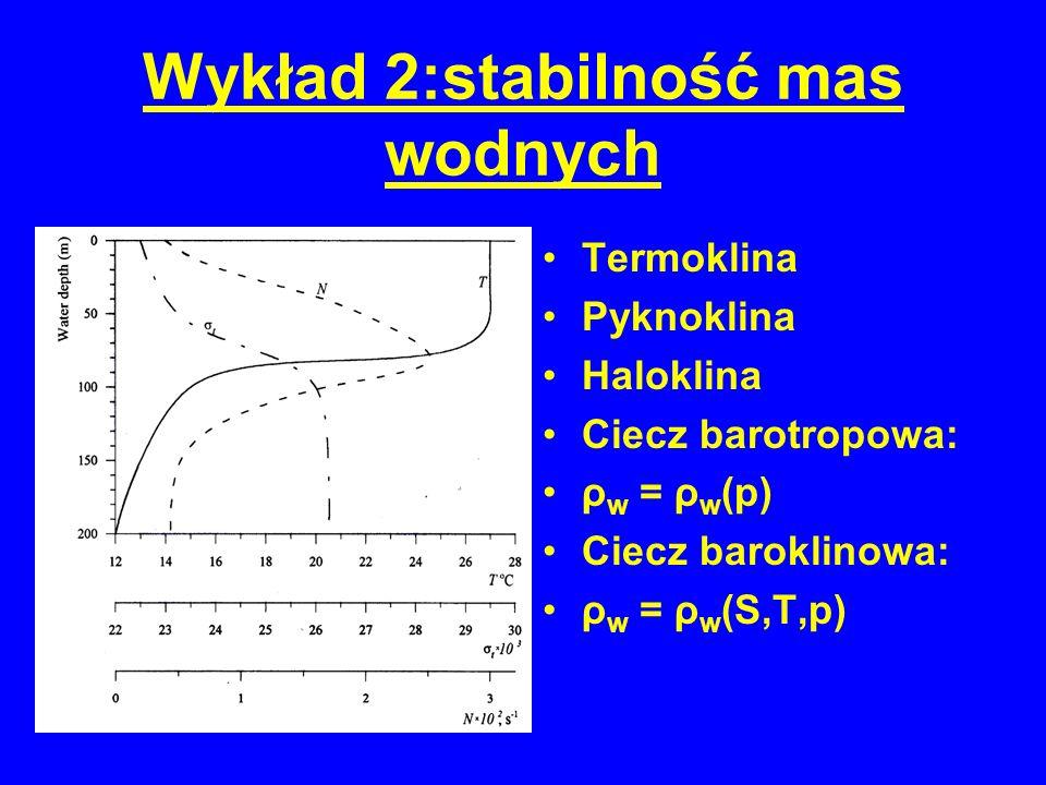 Wykład 2:stabilność mas wodnych