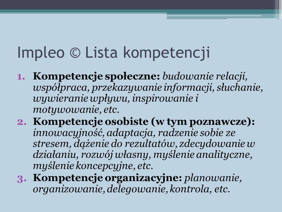 Impleo © Lista kompetencji