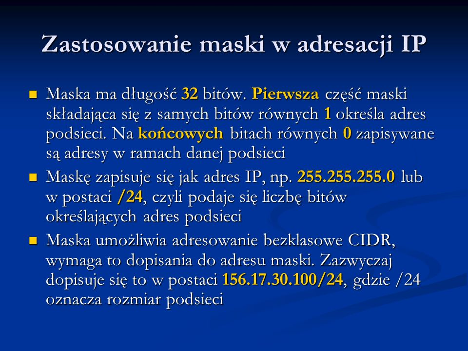 Zastosowanie maski w adresacji IP